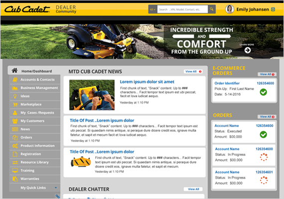 I spent a few months working with the great team at Cub Cadet helping them design their new dealer software.