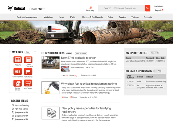 I also spent a few months working with Bobcat helping them design the look of their dealer portal.